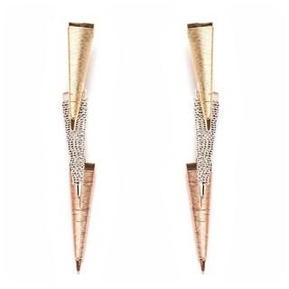 18k Goldplated Gold/Silver Triple-triangle Drop Earrings