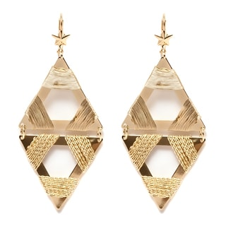 Plated Goldtone Brass Double Triangle Drop Earrings