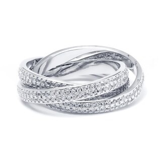 Rhodium Plated and Cubic Zirconia 3-row Rolling Ring - Silver