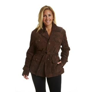 Excelled Women's Plus-size Notch Collar Suede Jacket