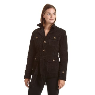 Excelled Women's Notch Collar Suede Jacket