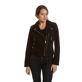 Excelled Women's Black Leather/Suede Moto Jacket