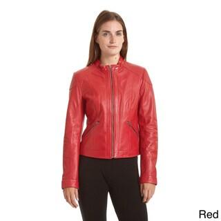 Excelled Women's Lambskin Moto Scuba Jacket