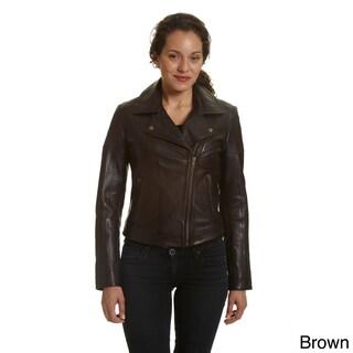 Excelled Women's Asymmetrical Notch Collar Moto Jacket