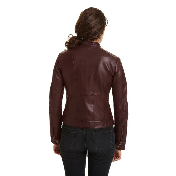 Excelled Leather Womens Leather Moto Collar Scuba