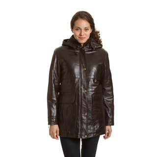Excelled Women's Leather Hooded Anorak Jacket - Free Shipping ...