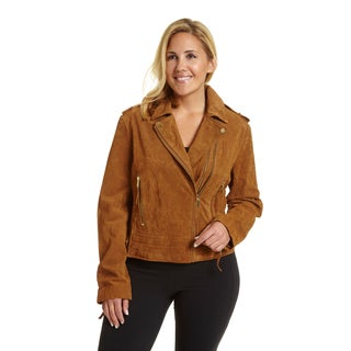 Excelled Women's Suede Plus-size Moto Jacket
