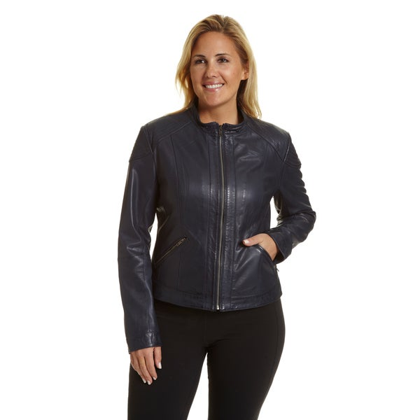 d9a4c3c23fcae Shop Excelled Women s Plus-size Lambskin Moto Scuba Jacket - Free ...