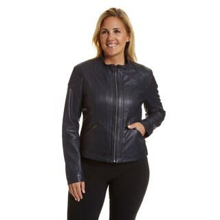 Excelled Women's Plus-size Lambskin Moto Scuba Jacket