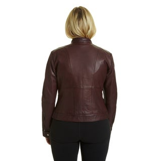 Excelled Women's Plussize Moto-collar Scuba Jacket