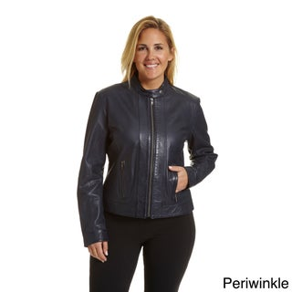 Excelled Women's Plussize Moto-collar Scuba Jacket (3 options available)