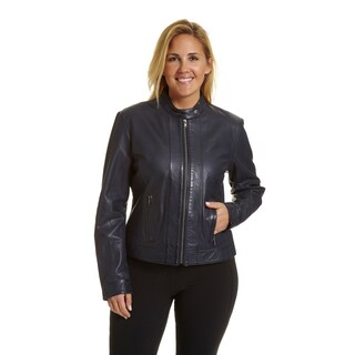 Excelled Women's Plussize Moto-collar Scuba Jacket