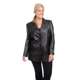 Excelled Ladies' Plus-size Lambskin Single-breasted Blazer|https://ak1.ostkcdn.com/images/products/12318058/P19151295.jpg?impolicy=medium