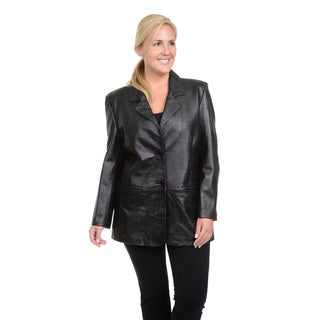 Excelled Ladies' Plus-size Lambskin Single-breasted Blazer