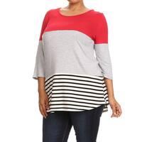 Plus Size Women's Crochet Lace Trim Top