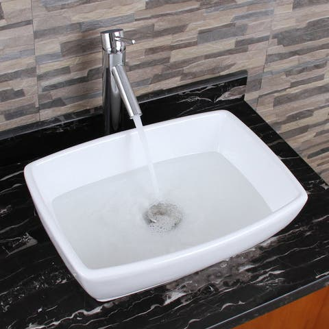 ELIMAX'S Unique Rectangle Shape White Porcelain Bathroom Vessel Sink With Faucet Combo