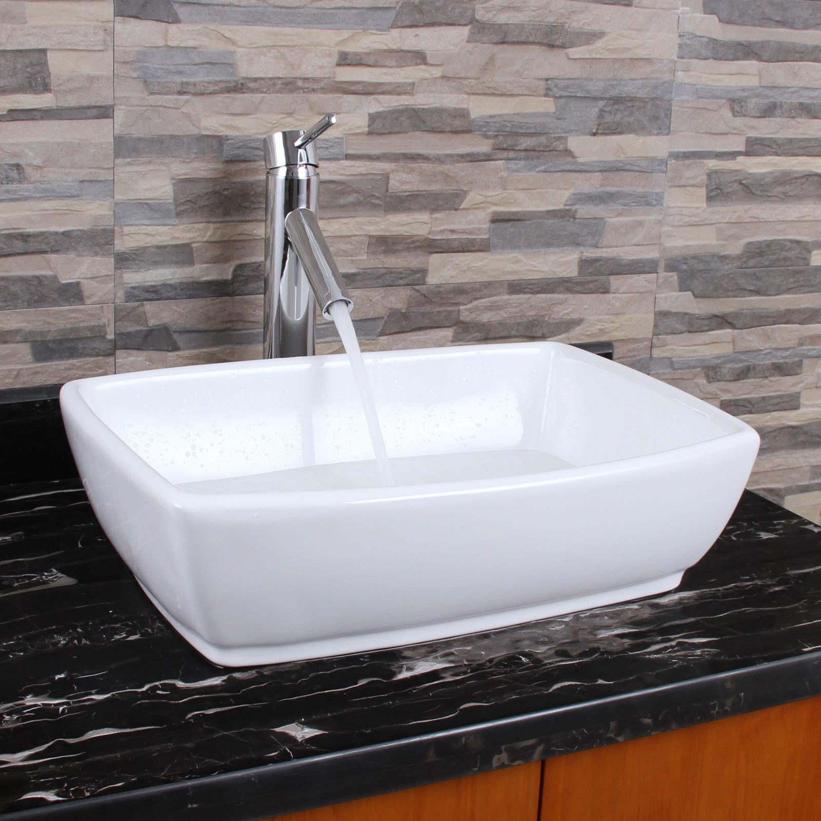 ELIMAXu0027S Unique Rectangle Shape White Porcelain Bathroom Vessel Sink With  Faucet Combo (3 Options Available