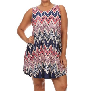 Women's Multicolored Plus-size Sleeveless Short Dress