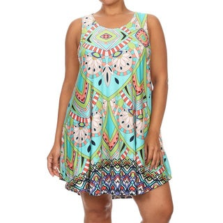 Plus-size Multicolor Polyester/Spandex Sleeveless Short Dress