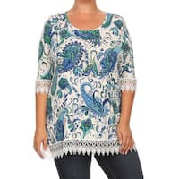 Plus Size Women's Multicolored Polyester/Spandex Paisley Top