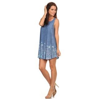 Women's Sleeveless Blue Denim Polyester/Spandex Dress