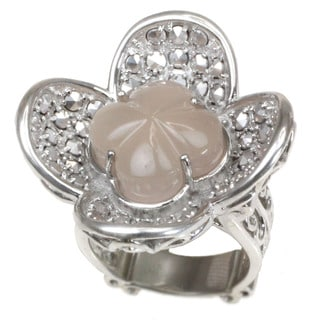 One-of-a-kind Dallas Prince Special Cut Rose Quartz with Marcasite Flower Ring