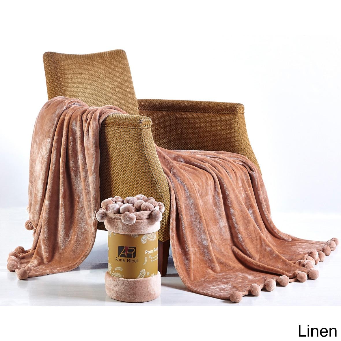 Orient De Moocci Soft Velvet Pom Pom Blanket (Size-78x86;...