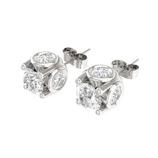 De Couer 14k White Gold 2ct TDW Diamond Stud Earring (H-I, I3)