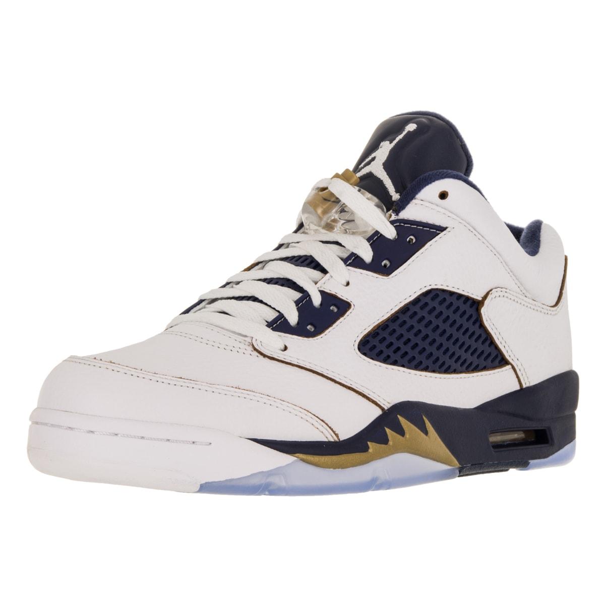Nike Jordan Men's Air Jordan 5 Retro Low WhiteGold StarMid Navy Basketball Shoe