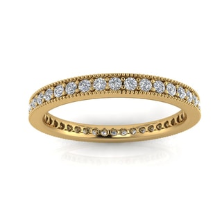14k Yellow Gold 5/8ct TDW Diamond Pave and Milgrain Eternity Ring (J-K, SI1-SI2)
