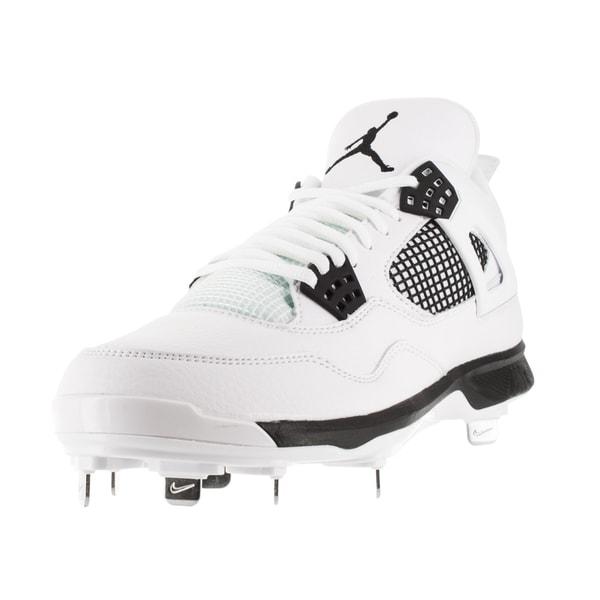 new product 30ac9 d53d9 Nike Jordan Men  x27 s Jordan Iv Retro Metal White Black Baseball Cleat