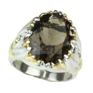 One-of-a-kind Michael Valitutti Smokey Quartz with Chrome Diopside Ring