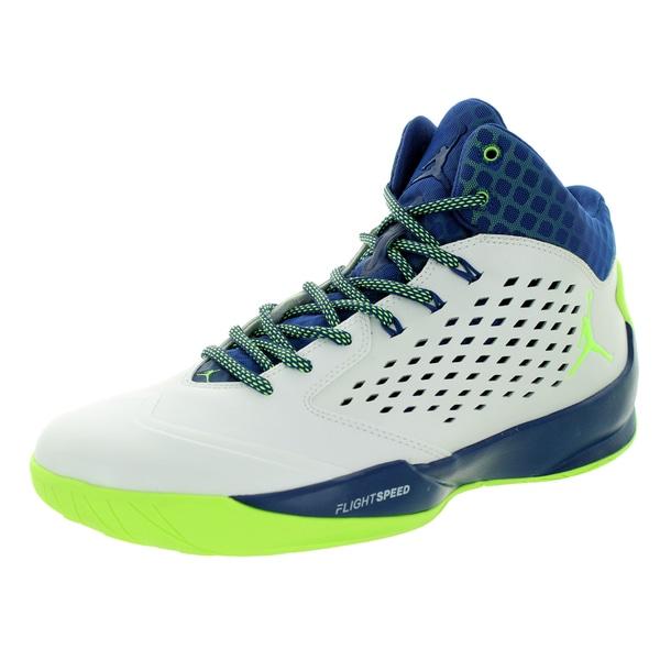 48fc3f3ffcb743 Shop Nike Jordan Men s Jordan Rising High White Green Insgn Bl ...