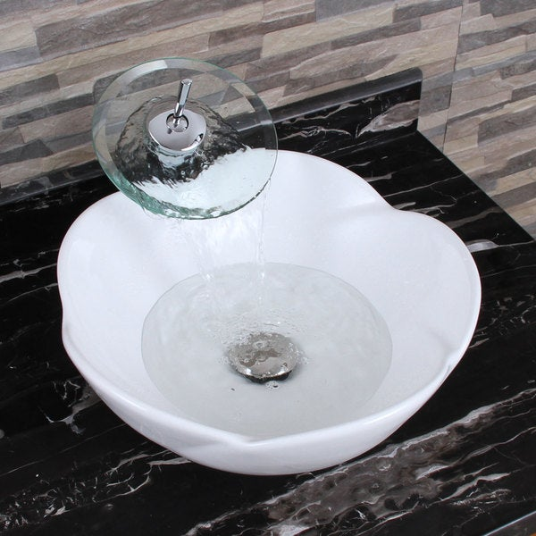 Exceptionnel ELIMAXu0026#x27;S 301+F22T Lotus Round Shape White Porcelain Ceramic Bathroom  Vessel