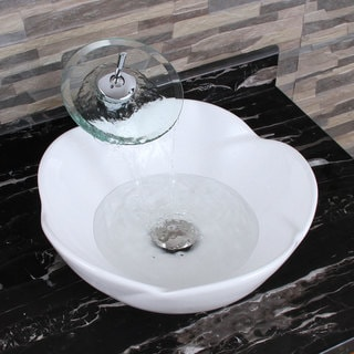 ELIMAX'S 301+F22T Lotus Round Shape White Porcelain Ceramic Bathroom Vessel Sink and Waterfall Faucet Combo