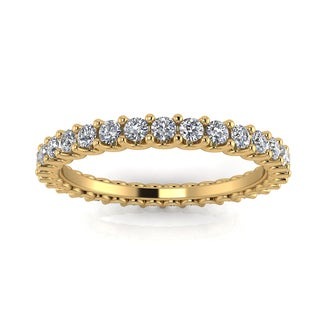 Estie G. 14k Yellow Gold 1 2/5-1 3/4ct TDW Diamond Shared Prong Set Eternity Ring (J-K,SI1-SI2)