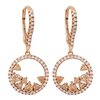 Luxiro Rose Gold Finish Sterling Silver Cubic Zirconia Circle Dangle Earrings