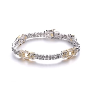 Collette Z Cubic Zirconia Two Tone Circle Bracelet