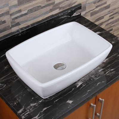 ELIMAX'S 302 Unique Rectangle Shape White Porcelain Ceramic Bathroom Vessel Sink
