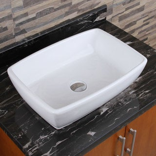 Elimax S 302 Unique Rectangle Shape White Porcelain Ceramic Bathroom Vessel Sink