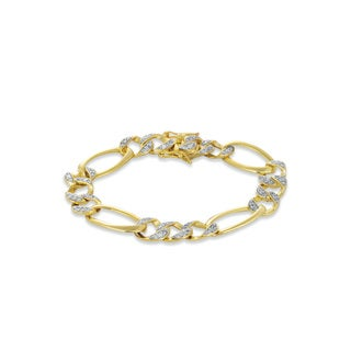Collette Z Cubic Zirconia Sterling Silver Two Tone Heavy Link Bracelet