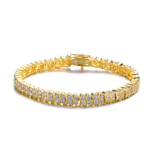 Collette Z Cubic Zirconia Sterling Silver Gold Plated Two Row Classic Bracelet
