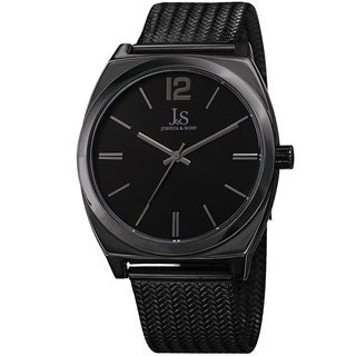 Joshua & Sons Men's Quartz Easy-to-Read Black Stainless Steel Bracelet Watch