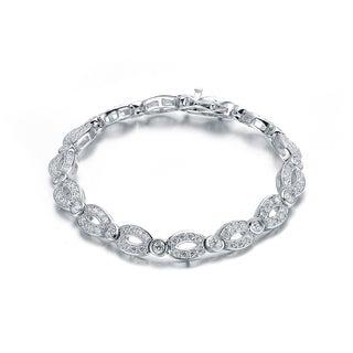 Collette Z Sterling Silver Cubic Zirconia Open Oval Link Bracelet