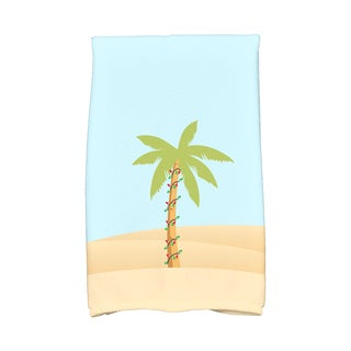 16 x 25-inch, Palm Tree with Christmas Lights, Geometric Print Hand Towel