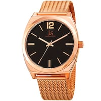 Joshua & Sons Men's Quartz Easy-to-Read Rose-Tone Stainless Steel Bracelet Watch