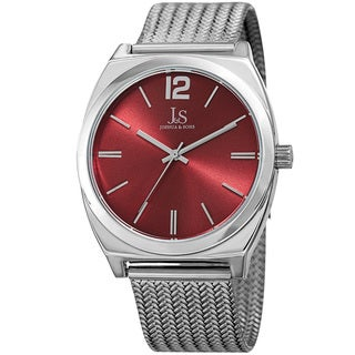 Joshua & Sons Men's Quartz Easy-to-Read Silver-Tone Stainless Steel Bracelet Watch