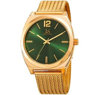Joshua & Sons Men's Quartz Easy-to-Read Gold-Tone Stainless Steel Bracelet Watch (Option: Green)