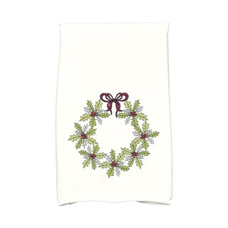 16 x 25-inch, Traditional Holly Wreath, Floral Print Hand Towel