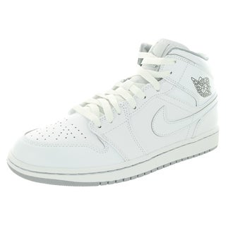 Nike Jordan Men's Air Jordan 1 Mid White/White/Wolf Grey Basketball Shoe